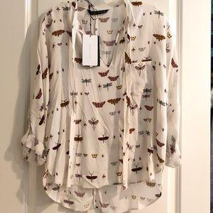 NWT 🦋 Zara Butterfly Blouse Size M 🦋